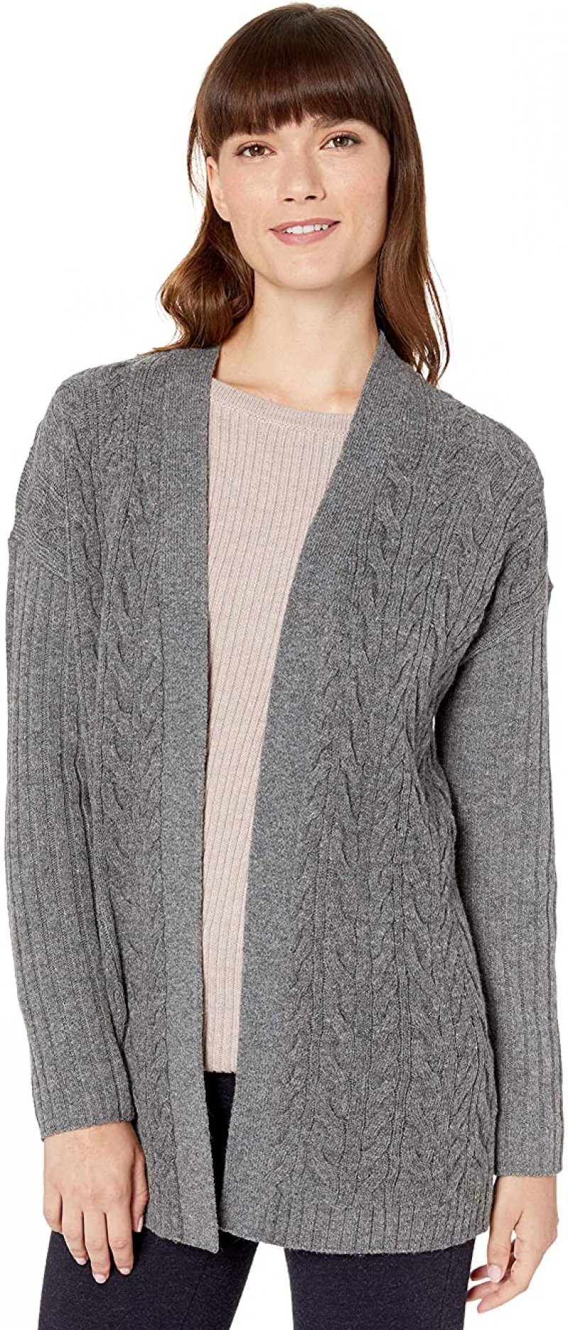 ihocon: [Amazon自家品牌] Amazon Essentials Women's Relaxed Fit Long-Sleeve Cable Open-Front Sweater  女士前開式毛衣