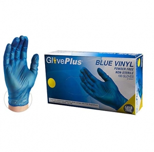 ihocon: GlovePlus Industrial Blue Vinyl Gloves - 4 mil, Box of 100 無粉抛棄式手套