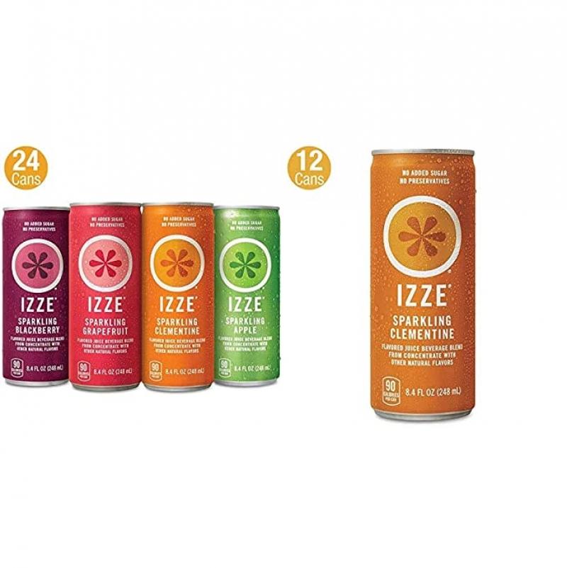 ihocon: IZZE Sparkling Juice, 4 Flavor Variety Pack, 8.4 Fl Oz (24 Count) & Sparkling Juice, Clementine, 8.4 Fl Oz (12 Count) 水果口味氣泡水