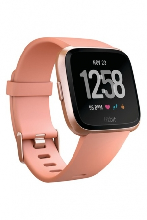 ihocon: Fitbit Versa Smartwatch with Small & Large Bands (Peach/Rose Gold Aluminium)智能運動錶