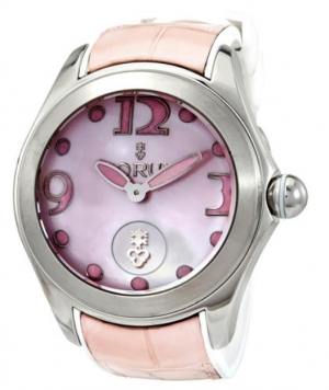 ihocon: Corum Bubble Automatic Pink Dial Watch 崑崙鱷魚皮錶帶女錶