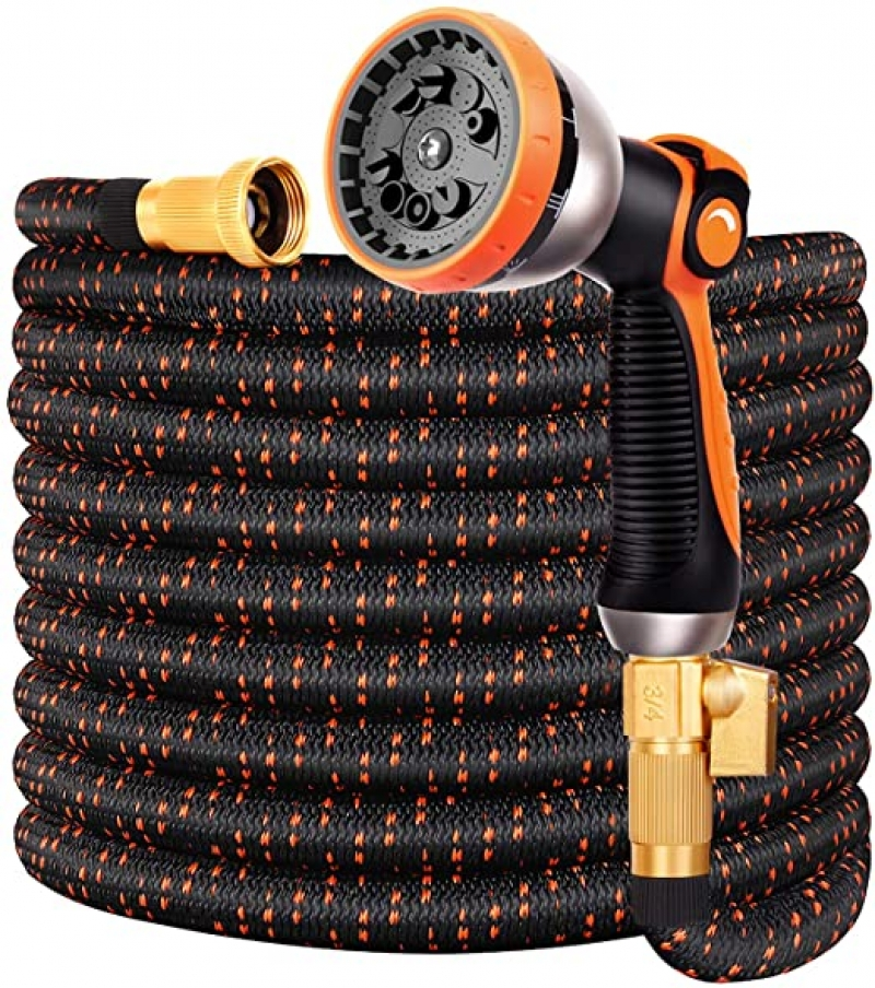 ihocon: Double Couple Garden Hose, 3/4 with 10-Way Water Spray Nozzle(50 FT) 伸縮澆花水管, 含噴水頭