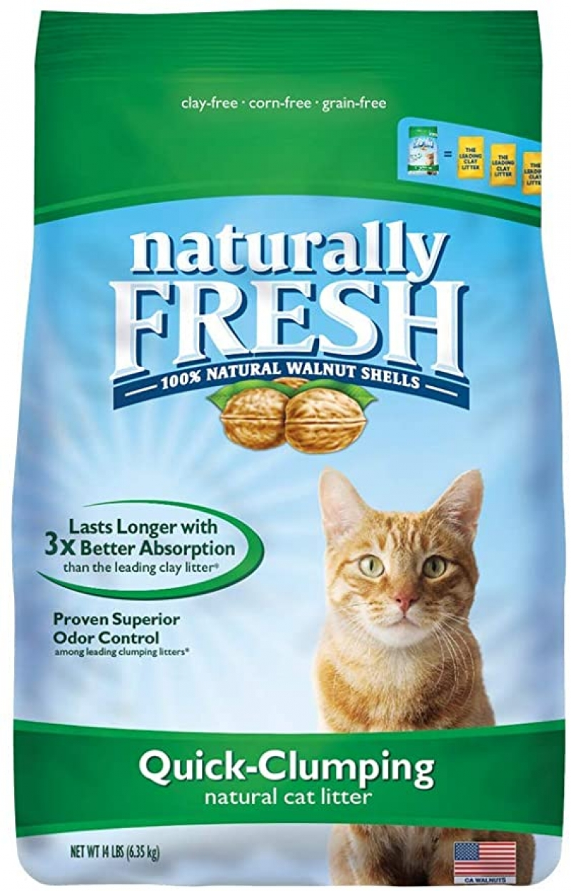 ihocon: Naturally Fresh Walnut-Based Quick-Clumping Cat Litter, Unscented, 14-lb bag 快速凝結貓砂