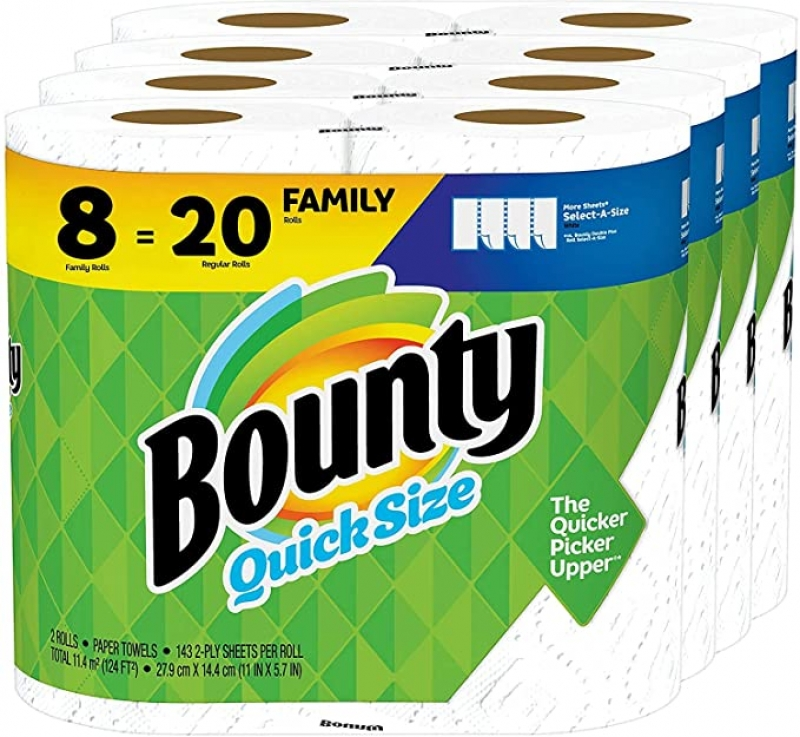 ihocon: Bounty Quick-Size Paper Towels, White, 8 Family Rolls = 20 Regular Rolls 廚房紙巾