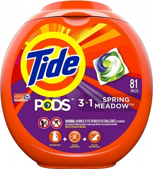 ihocon: Tide PODS 3 in 1 HE Turbo Laundry Detergent Pacs, Spring Meadow Scent, 81 Count Tub - Packaging May Vary 洗衣機膠囊