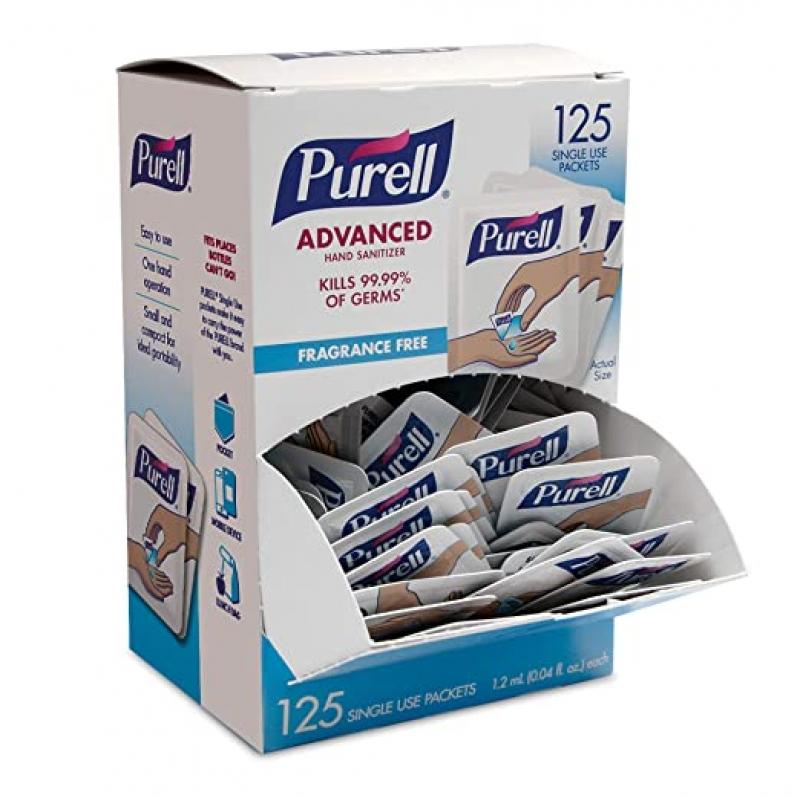 ihocon: PURELL SINGLES Advanced Hand Sanitizer Gel, Fragrance Free, 125 Count Single-Use Travel Size Packets手部消毒液/乾洗手隨身包