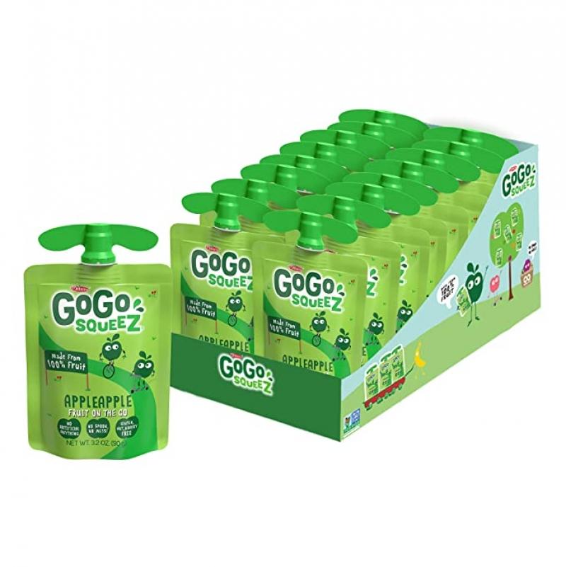 ihocon: GoGo squeeZ Applesauce, Apple Apple, 3.2 Ounce (18 Pouches)蘋果泥