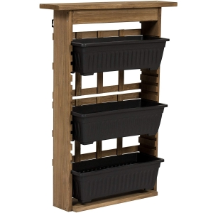 ihocon: Best Choice Products 3-Tier Vertical Wall Mount Planter 三層木製壁掛式花架