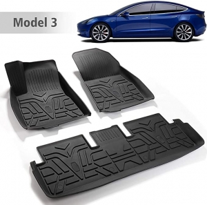 ihocon: BASENOR Tesla Model 3 Floor Mat 3D All-Weather Front & Rear Floor Liners Set    汽車防水地墊