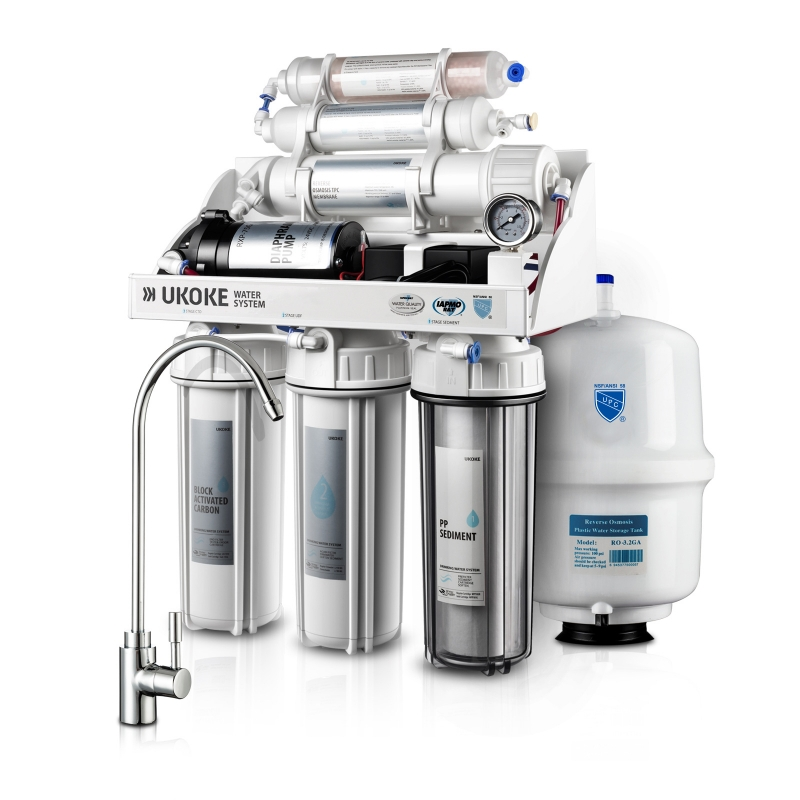 ihocon: Ukoke 6 Stages Reverse Osmosis, Water Filtration System, 75 GPD with Pump  6段過濾逆滲透濾水器