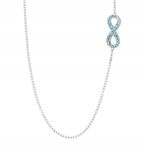 ihocon: Infinity Necklace with Sky Blue Swarovski Crystals 純銀鑲施華洛世奇水晶項鍊