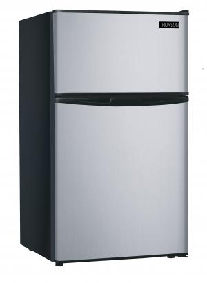 ihocon: RCA 3.2 Cu Ft Two Door Mini Fridge with Freezer RFR834, Stainless雙門小冰箱