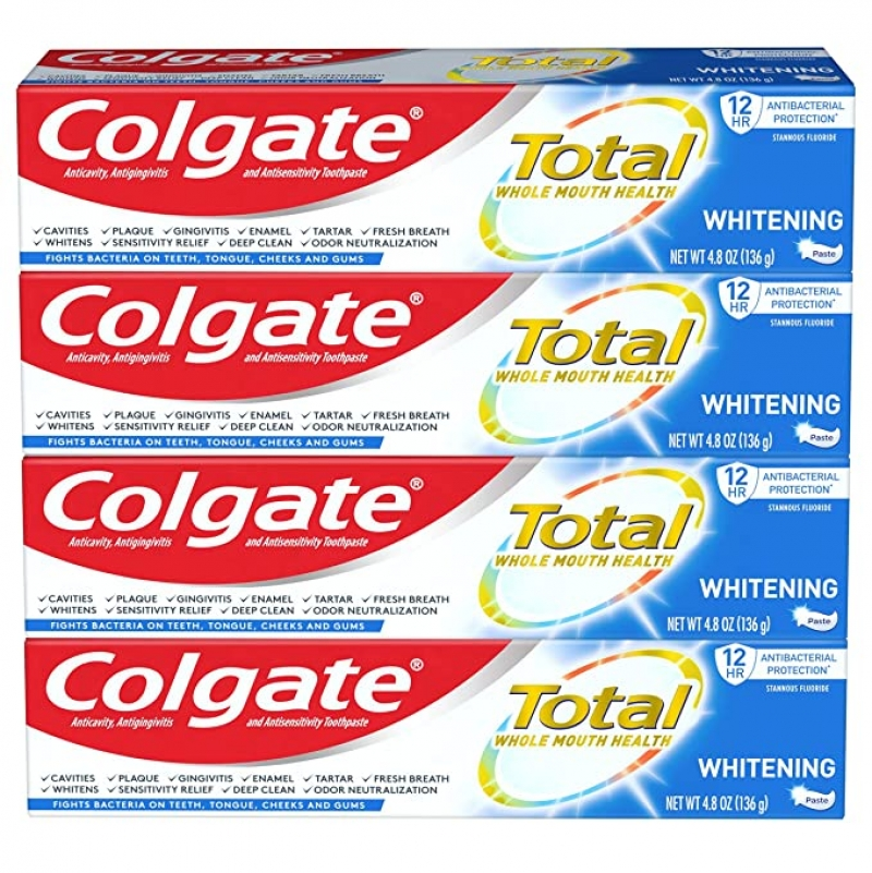 Colgate 高露潔美白牙膏 4.8 oz 4條 $8.31(原價$16.98)