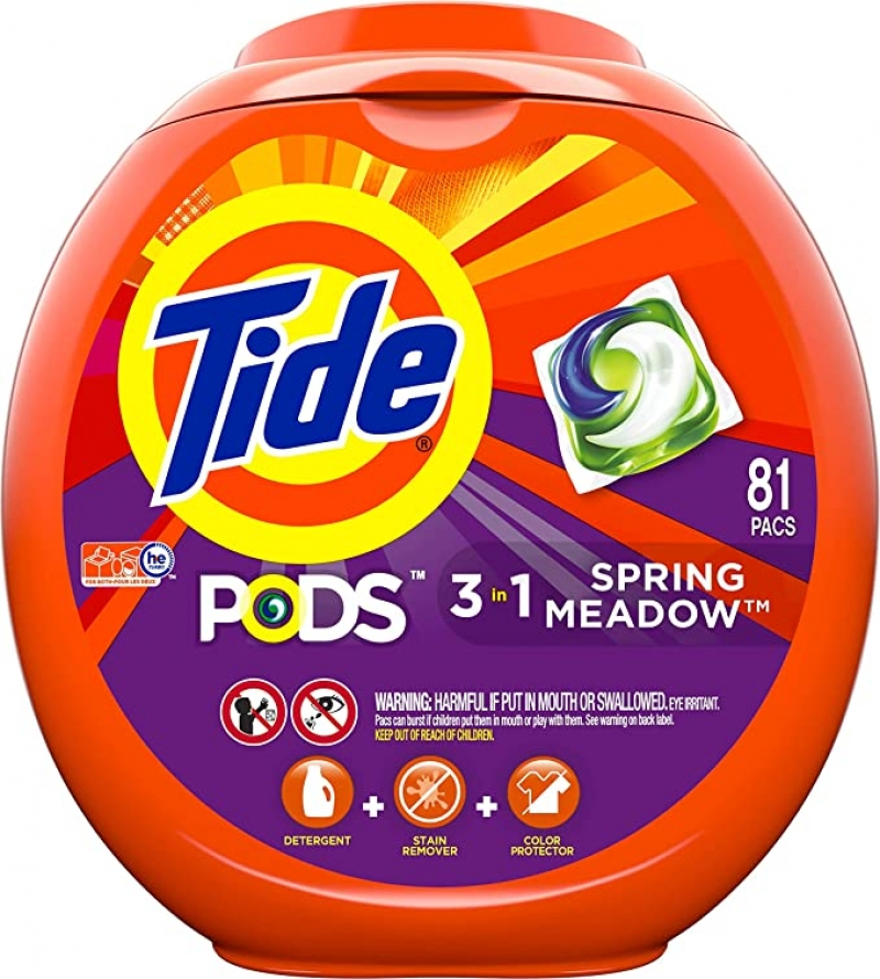 ihocon: Tide Pods 3 in 1, Laundry Detergent Pacs, Spring Meadow Scent, 81 Counts 洗衣膠囊