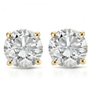 ihocon: 1ct Round Diamond Stud Earrings in 14K Yellow Gold with Screw Backs 鑽石耳環