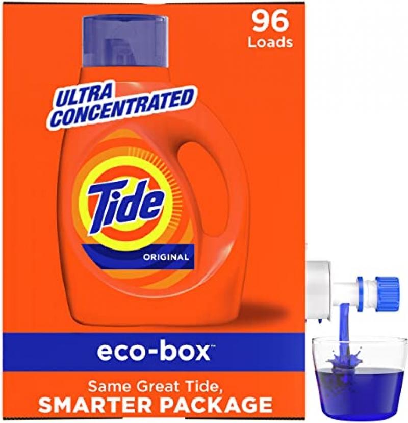 ihocon: Tide Liquid Laundry Detergent Soap Eco-Box, Ultra Concentrated High Efficiency (HE), Original Scent, 96 Loads  超濃縮高效洗衣精