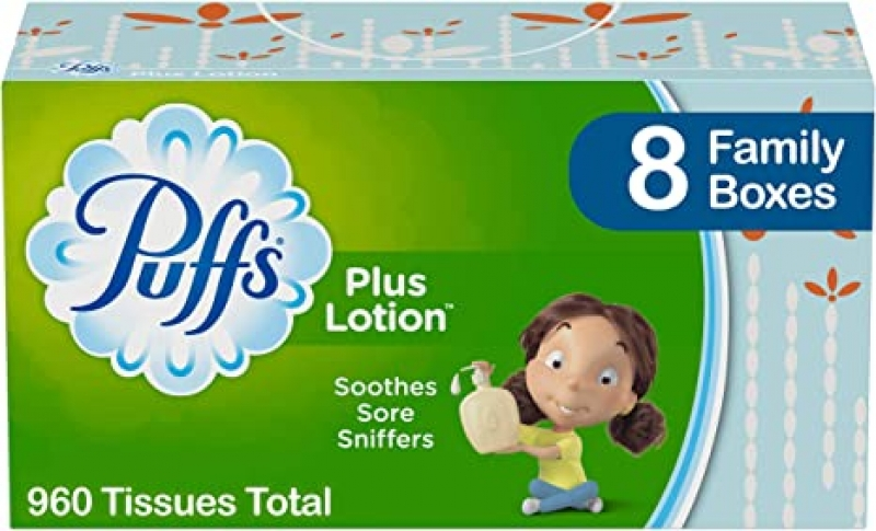 ihocon: Puffs Plus Lotion Facial Tissues, 8 Family Boxes, 120 Tissues per Box 面紙
