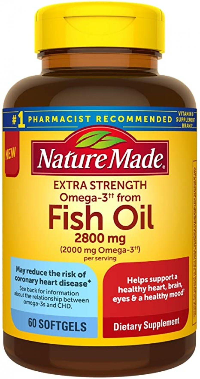 ihocon: Nature Made Extra Strength Burp-Less Omega 3 Fish Oil 2800 mg, 60 Softgels 魚油