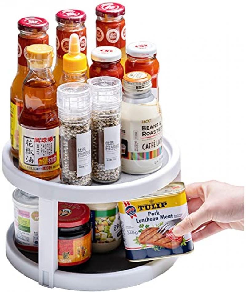 ihocon: YCOCO Lazy Susan Spice Rack Organizer 雙層旋轉調味料架