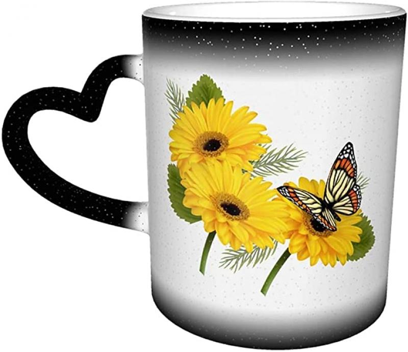 ihocon: TGHJ Coloring Changing Ceramic Coffee Mug with Love Handle, 11oz 愛心把手馬克杯
