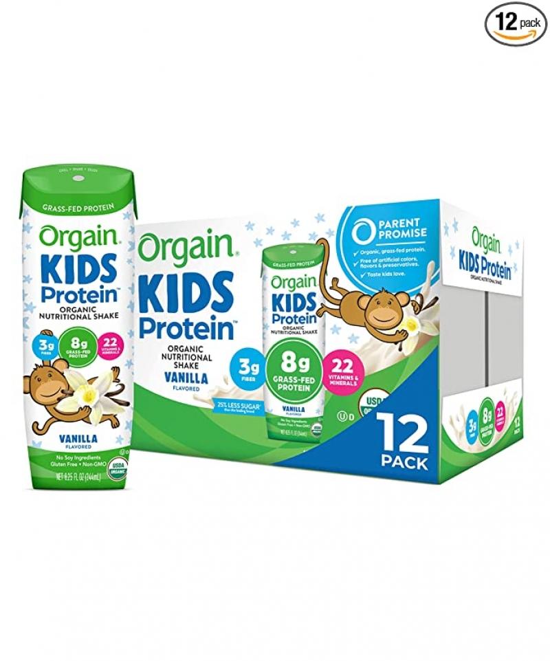 ihocon: Orgain Organic Kids Protein Nutritional Shake, Vanilla, 8.25 Oz, 12 Count 有機兒童蛋白質奶昔