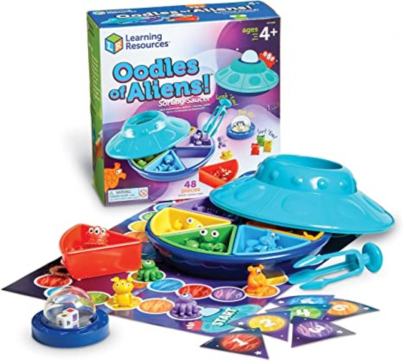 ihocon: [教育性玩具] Learning Resources Oodles of Aliens Sorting Saucer, 48 Pieces, Ages 4+