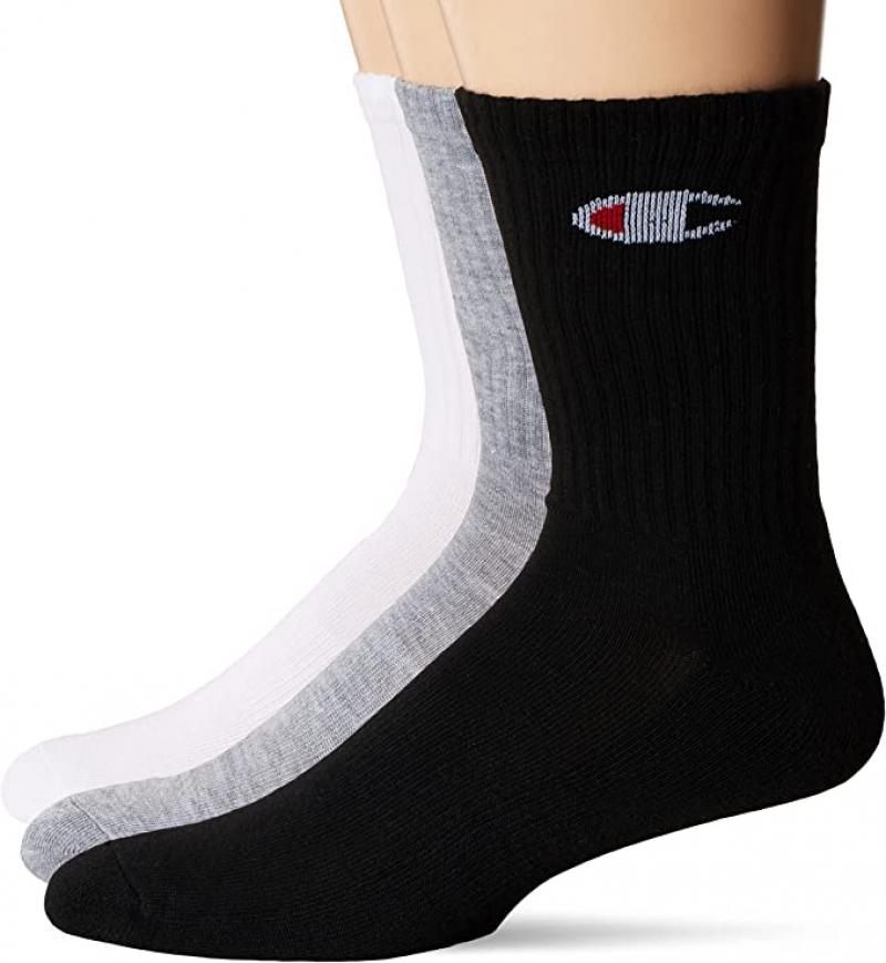 ihocon: Champion Men's Double Dry 6-Pair Pack Logo Crew Socks  男襪 6雙