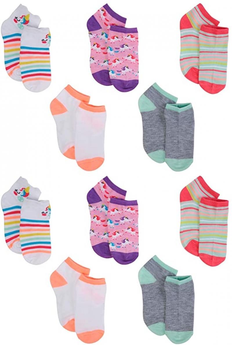 ihocon: dELiAs Girls' Half-Cushion Spandex Short Crew Socks Variety Pack(10 Pack)  童襪 10雙