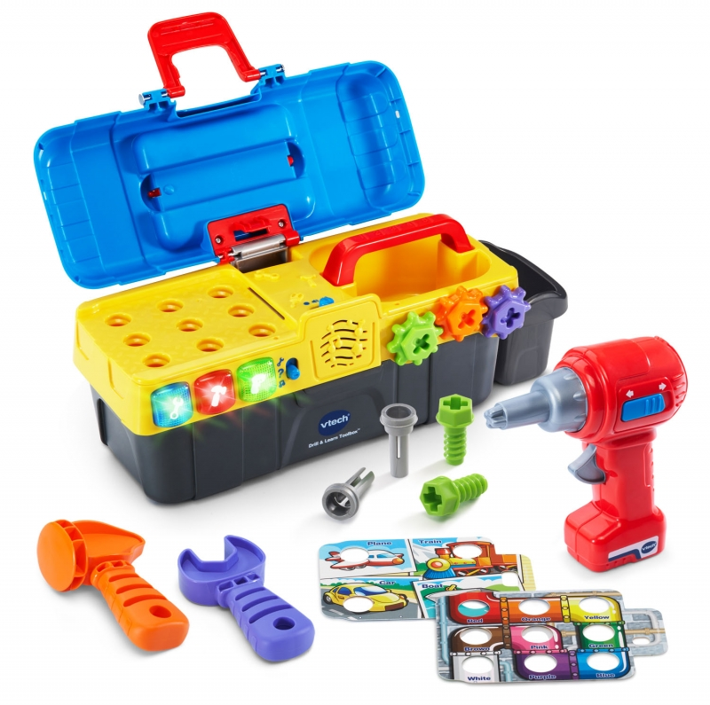 ihocon: VTech Drill and Learn Toolbox With Working Drill and Tools 兒童工具箱玩具