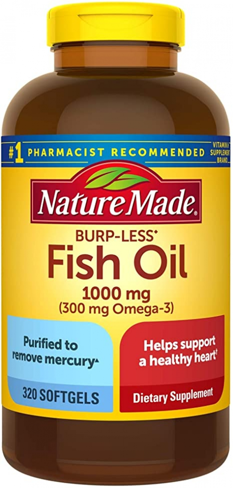ihocon: Nature Made Fish Oil Burp-Less 1000 mg, 320 Softgels, Fish Oil Omega 3 Supplement For Heart Health   魚油