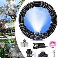 ihocon: XDDIAS Fan Misting Kit for Outdoor Misting Cooling System with 19.67FT (6M) Misting Line+6 Nozzle+A Faucet Adapter 室外水霧系統