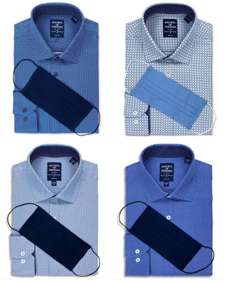 ihocon: Society of Threads Men's Slim-Fit Non-Iron Performance Stretch Black Geo-Print Dress Shirt and Mask 男士免熨襯衫+布口罩