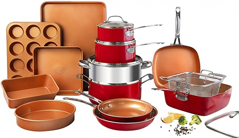 ihocon: Gotham Steel Cookware + Bakeware Set with Nonstick Durable Ceramic Copper Coating – Includes Skillets, Stock Pots, Deep Square Fry Basket, Cookie Sheet and Baking Pans, 20 Piece   不沾鍋組及烤盤
