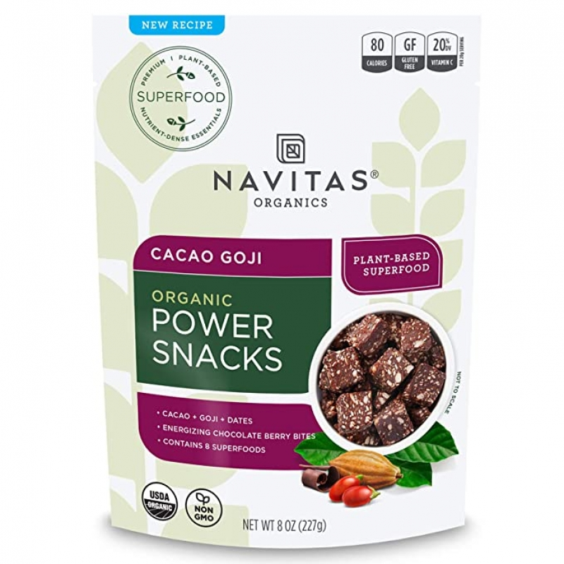 ihocon: Navitas Organics Superfood Power Snacks, Cacao Goji, 8 oz. Bag, 11 Servings — Organic, Non-GMO, Gluten-Free 有機 可可枸杞 點心