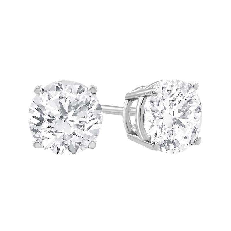 ihocon: Brilliance Fine Jewelry 0.25 Carat T.W. Diamond Stud Earring in 14K White Gold, (I-J, I2-I3)  白金鑽石耳環