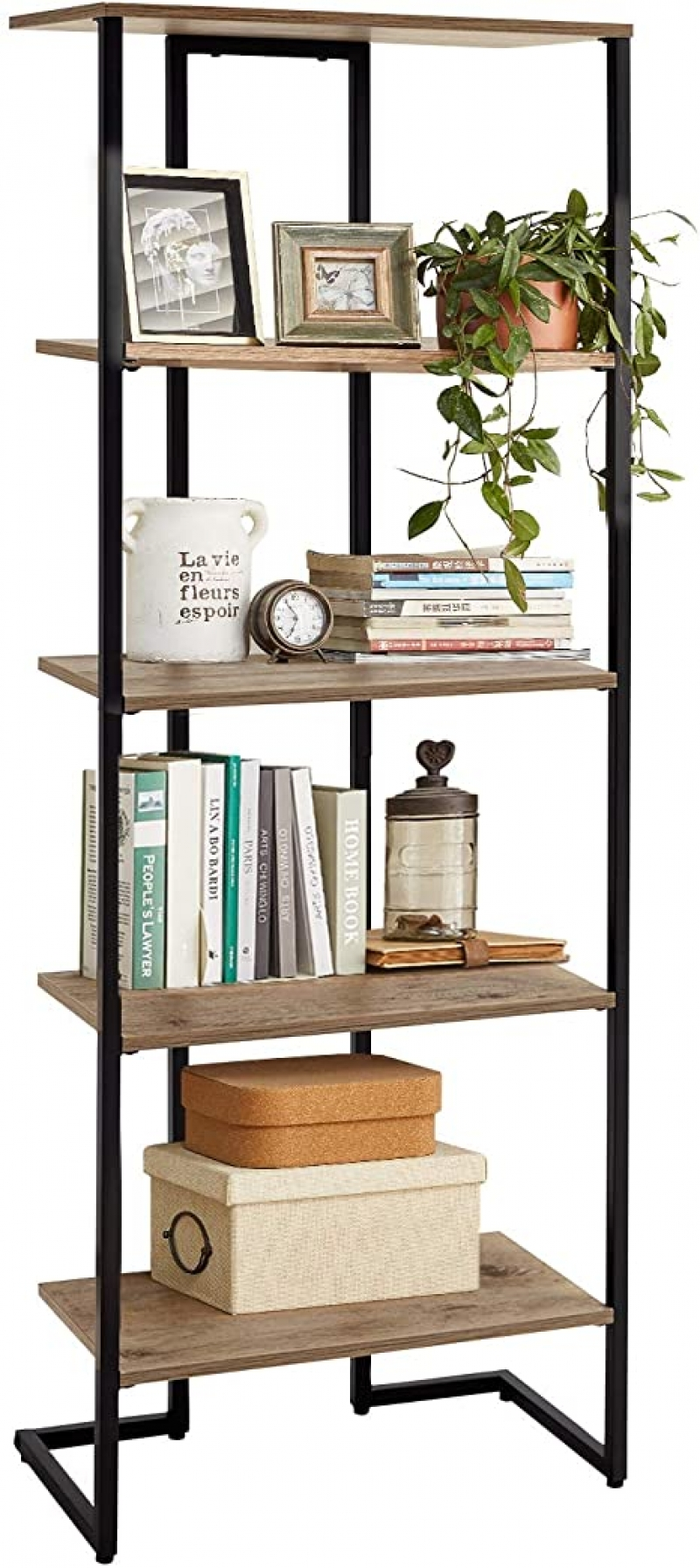 ihocon: Linsy 5-Tier Home Bookshelf with Metal Frames 五層書架