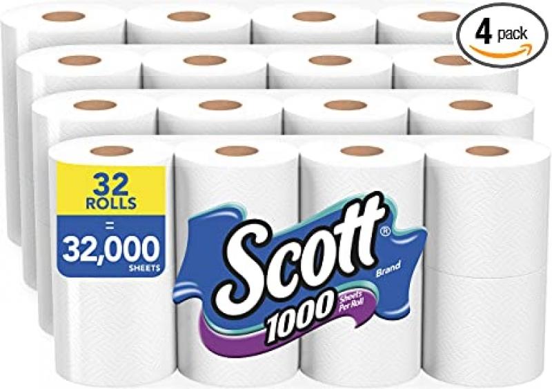 ihocon: Scott 1000 Sheets Per Roll Toilet Paper, 32 Rolls (4 Packs of 8) 廁所衛生紙