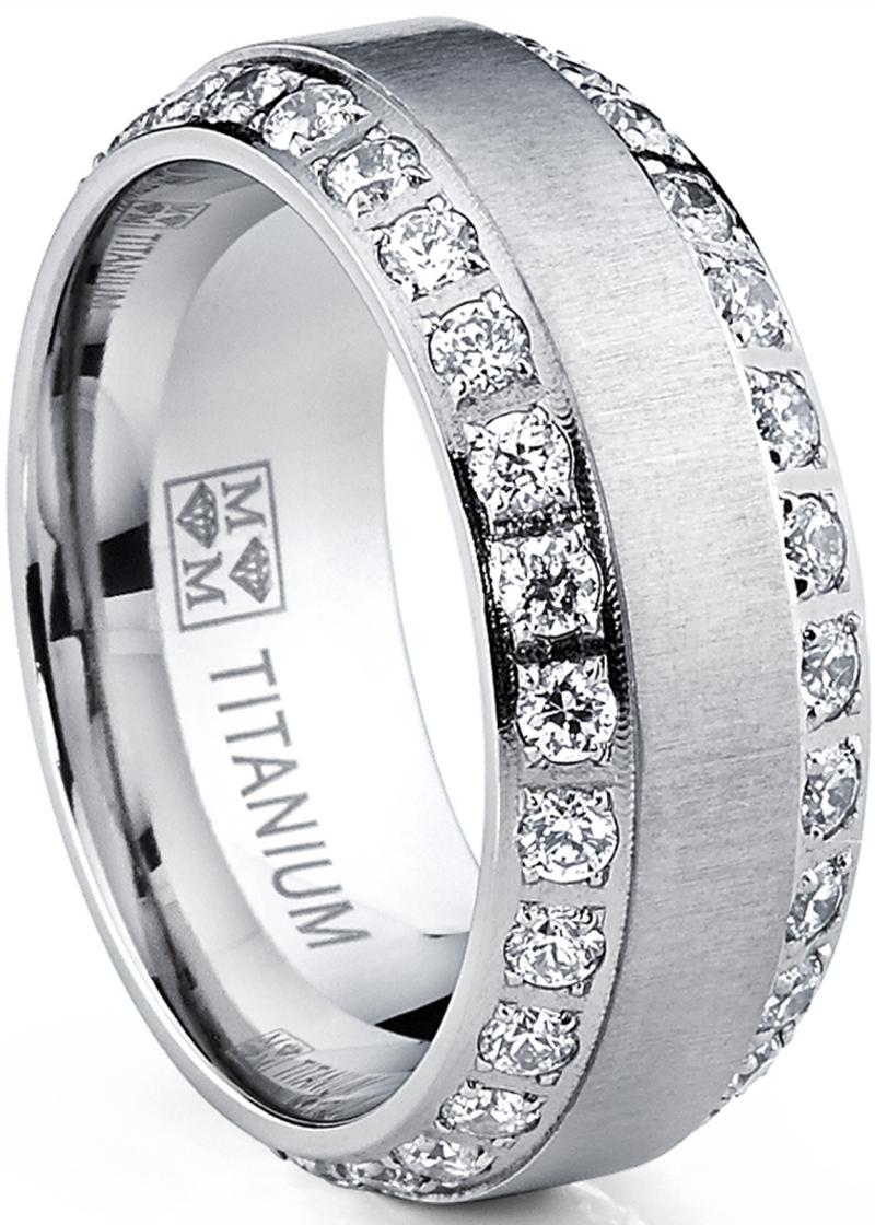 ihocon: Men's Titanium Dome Brushed Finished Wedding Band Engagement Ring with Cubic Zirconia 男士鈦金戒指