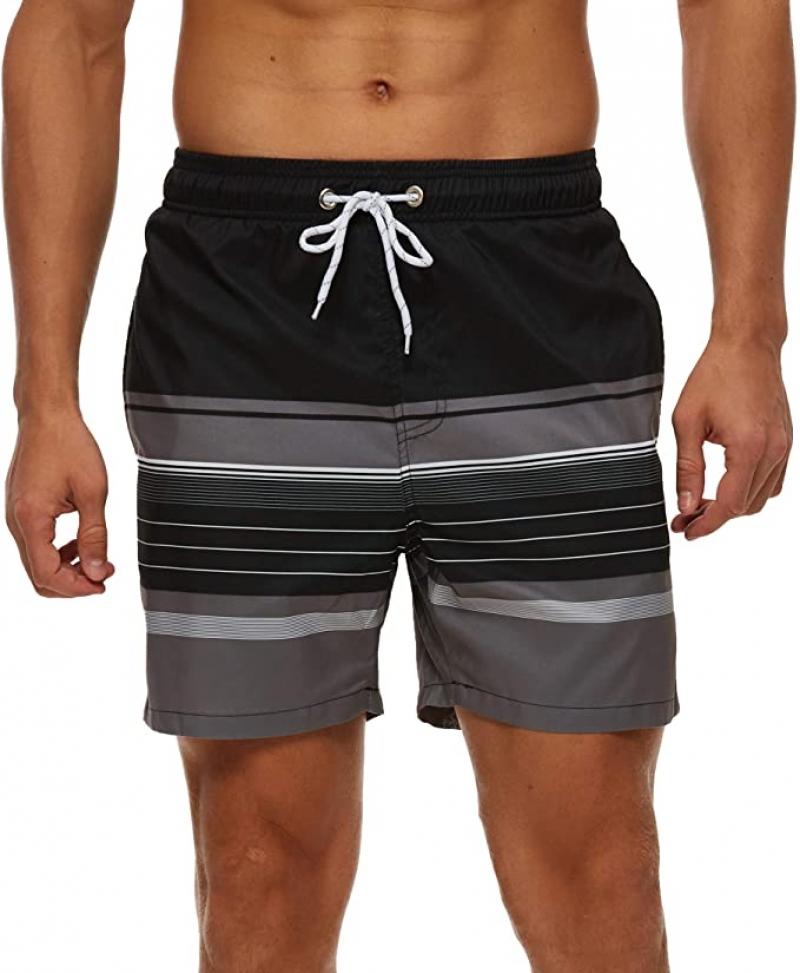 ihocon: YuKaiChen Men's Swim Trunks Quick Dry Beach Shorts with Mesh Lining  男士泳褲