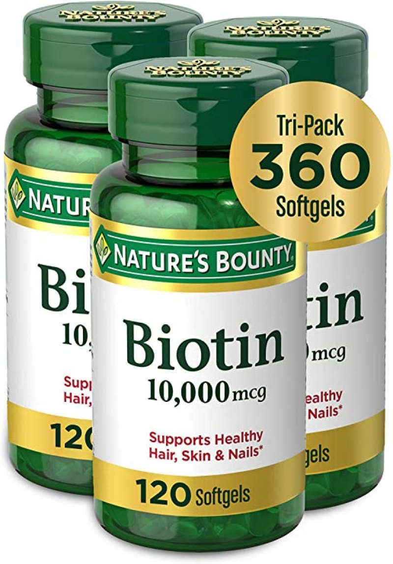 ihocon: [頭髮,皮膚和指甲保養] Nature's Bounty Nature's Bounty Biotin 10,000mcg, Supports Healthy Hair, Skin and Nails, Rapid Release Softgels, 120 Count (Pack of 3) 生物素