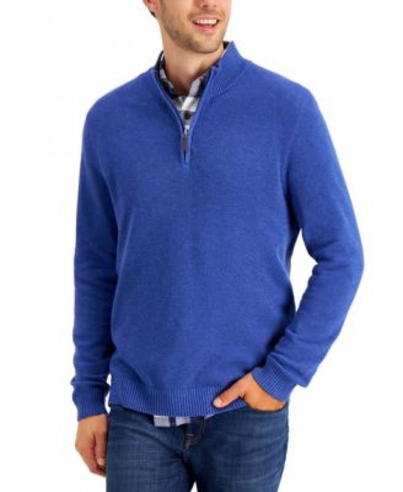 ihocon: Club Room Men's Quarter-Zip Textured Cotton Sweater 男士棉質毛衣