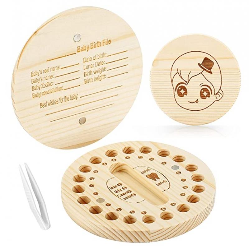 ihocon: Bileker Tooth Box for Kids 木製兒童乳牙保存盒