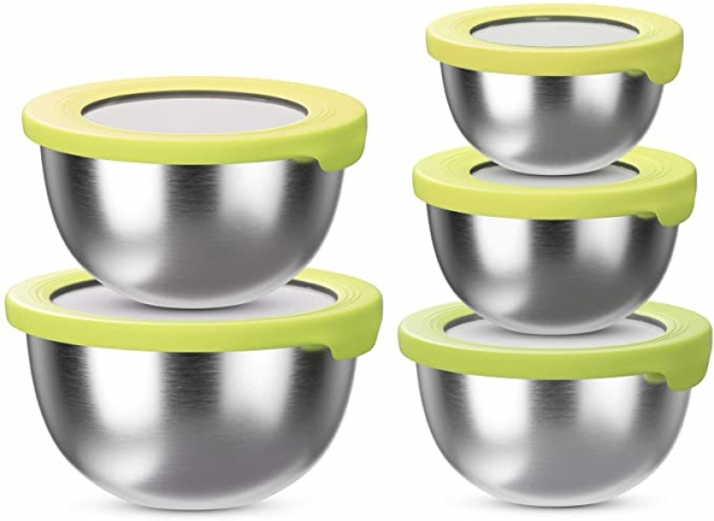ihocon: BLNKD Stainless Steel Mixing Bowls with Lids 含蓋不銹鋼攪拌碗/備料碗 5個