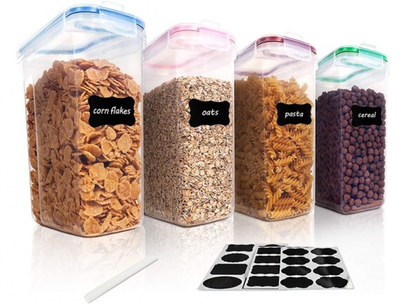 ihocon: Vtopmart 4-Piece Cereal Storage Container Set  食品密封罐(3.6 Qt)