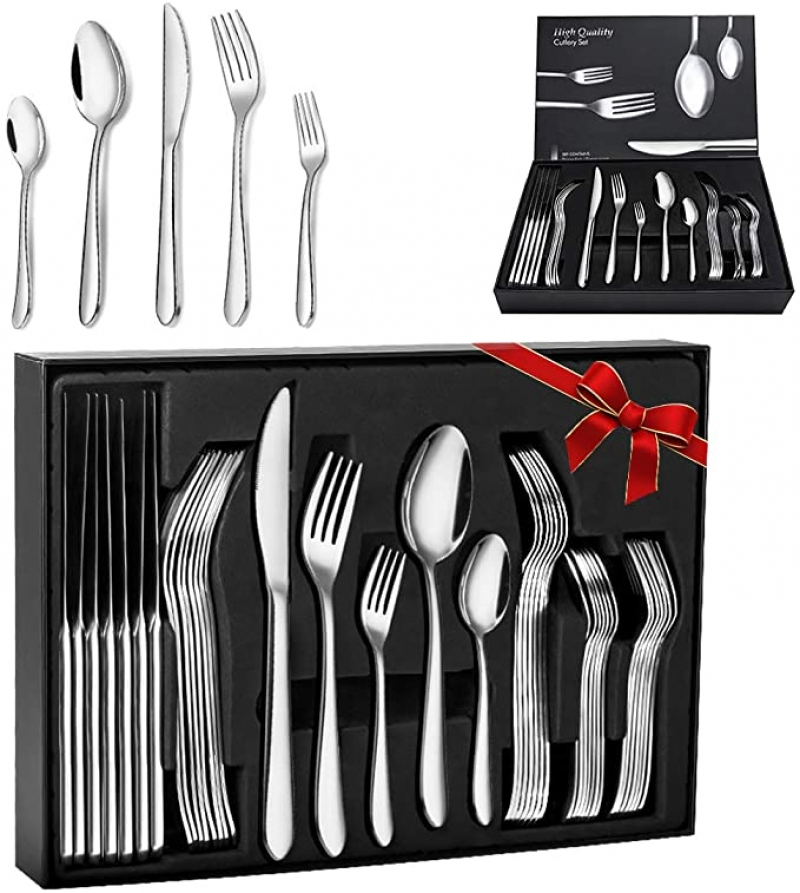 ihocon: Elegant Life 30-Piece Stainless Steel Flatware Cutlery Set六人份不銹鋼餐具(刀,叉及湯匙)