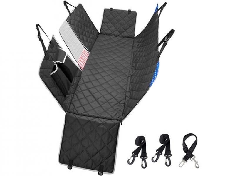 ihocon: Pijaya Car Back Seat Dog Cover Protector w/ Mesh Window: Durable, Nonslip, Waterproof, & Scratchproof  汽車後座寵物防髒保護墊