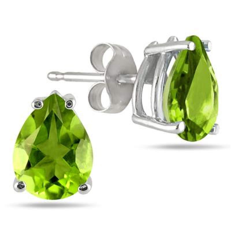 ihocon: 6x4MM All Natural Pear Peridot Stud Earrings in .925 Sterling Silver 64 毫米 0.925 純銀橄欖石耳環