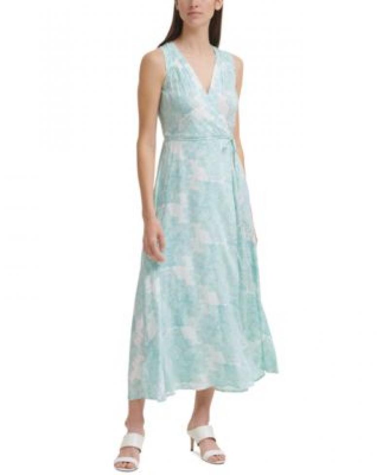 ihocon: Calvin Klein Printed Tie-Waist Maxi Dress 女士無袖連衣裙