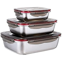 ihocon: BIPRKNG Food Storage Container Set 不銹鋼保鮮盒3個