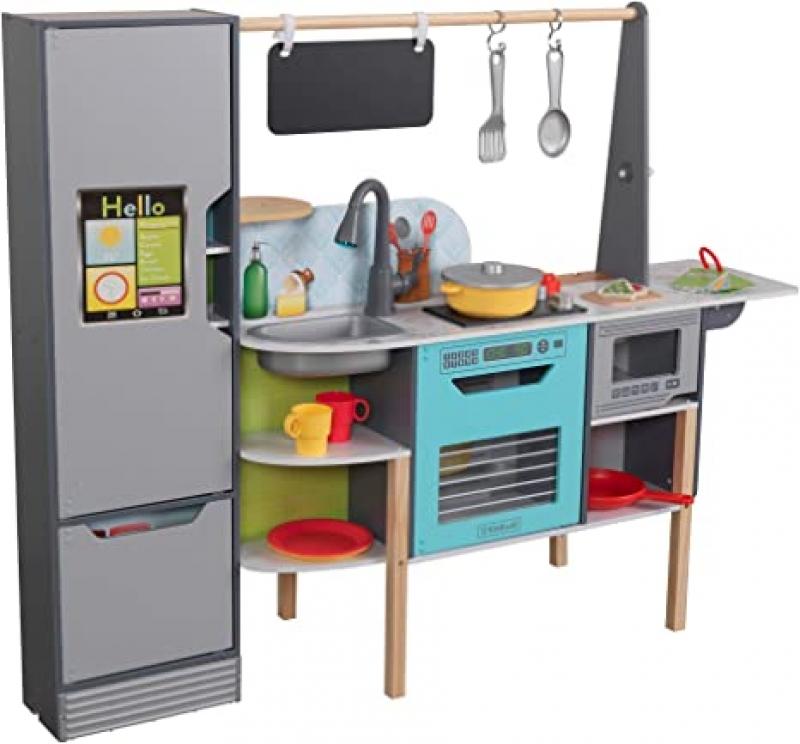 ihocon: KidKraft Alexa-Enabled 2-in-1 Wooden Kitchen & Market with Lights and Sounds 二合一木製聲光廚房/攤位
